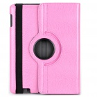 Protective 360 Degree Rotation Holder Snakeskin Pattern PU Leather Case for iPad 2 - Pink