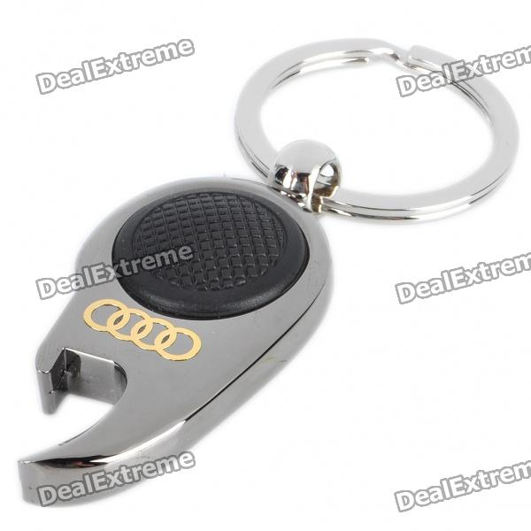 mini metal white led flashlight bottle opener keychain with car logo audi 1 x cr1220. Black Bedroom Furniture Sets. Home Design Ideas