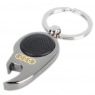 Mini Metal White LED Flashlight Bottle Opener Keychain with Car Logo - Audi (1 x CR1220)
