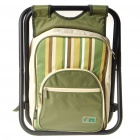Fashion Picnic Backpack Bag with Dinnerware and Stool - Green