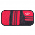 Auto Car Carbon Fiber Sunshade Board with CD Storage Bag - Black + Red