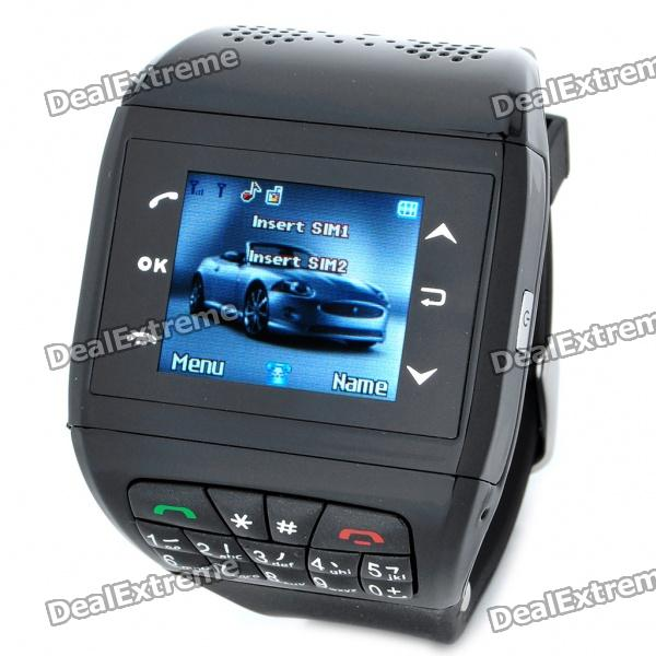 1.33 Touch Screen Wrist Watch Style Dual SIM Dual Network Standby Quadband GSM Cell Phone - Black
