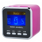 "1.4"" LCD Mini USB Rechargeable MP3 Player Speaker w/ Alarm Clock/TF/USB/Line In/3.5mm - Deep Pink"