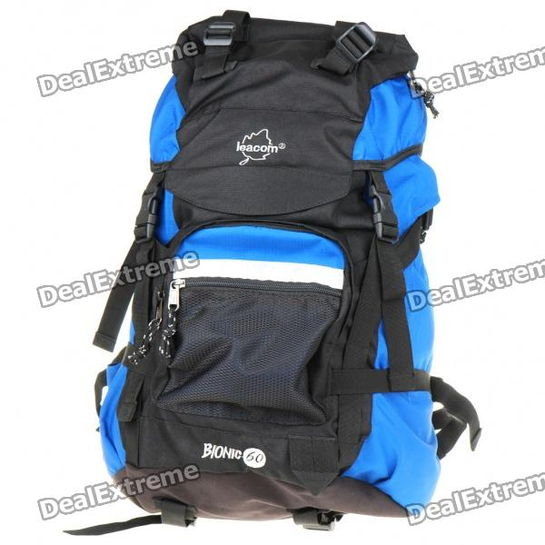 Fashionable Rainproof Outdoor Travel Sport Backpack Double Shoulder Bag - Black + Blue