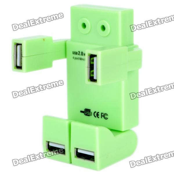 Vivid Robot Style USB 2.0 4-Port Hub with USB Cable - Green