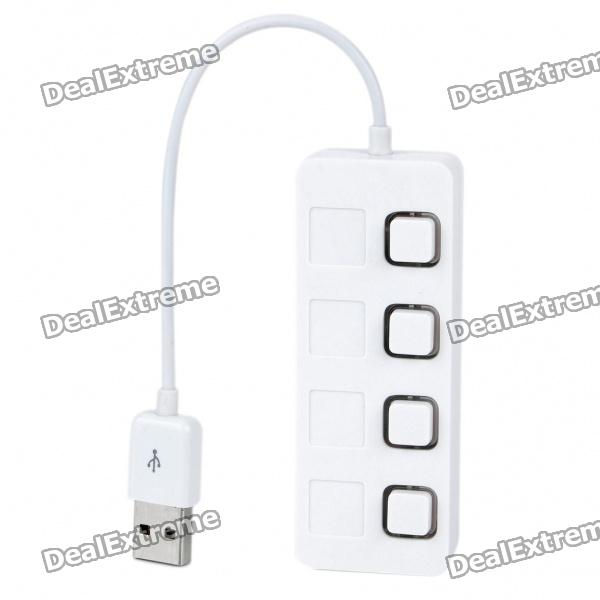 USB 2.0 4-Port HUB w/ Individual Switch - White