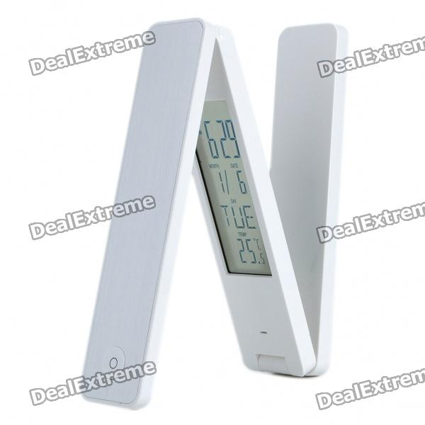 18-LED White Light Rechargeable Folding Desk Lamp w/ Calendar & Thermometer