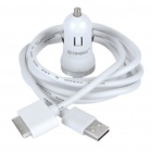Car Cigarette Powered USB Adapter / Ladegerät + USB Kabel für iPhone / iPad - White