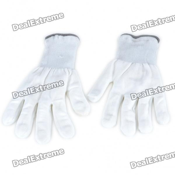 6-Mode Multicolored LED Light Rave Gloves - White (Pair)