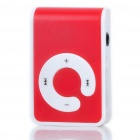 USB Rechargeable Screen-Free MP3 Player with TF Slot/3.5mm Audio Jack/Clip - Red