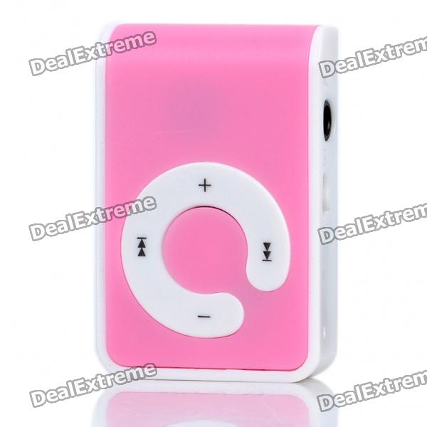 USB Rechargeable Screen-Free MP3 Player with TF Slot/3.5mm Audio Jack/Clip - Pink