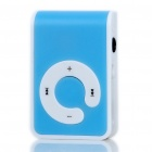 USB Rechargeable Screen-Free MP3 Player with TF Slot/3.5mm Audio Jack/Clip - Blue