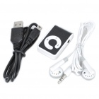 USB Leitor de Tela-Free recarregável MP3 com TF Slot/3.5mm Audio Jack / Clip - Preto