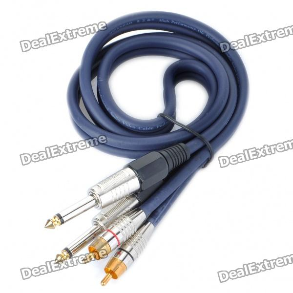 2x6.35mm Male to 2xRCA Male 6.0mm OD Audio Adapter Cable (1M-Length) momentum 1m dv44b1br