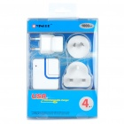Dual USB Power Adapter w/ EU Plug/UK Plug/AU Plug Adapters for Cell Phone/PSP/MP4 + More