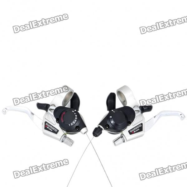 SHIMANO Steel Mountain Bike Bicycle 8 Speed Shifters - Silver (Pair)