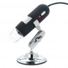Portable USB 2.0 20X-800X 2MP Digital Microscope with 8-LED Illumination - Black