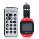 "1.4"" LCD Car MP3 Player FM Transmitter with Remote Controller - Black + Red (3.5mm/USB/SD/MMC)"