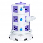 Vertical Stand Universal 3x4 Power Sockets with 5-USB Power Port (AC 100~250V)