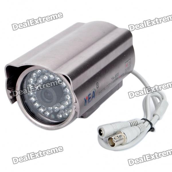 300KP CMOS Wired Surveillance Security Waterproof Camera with 36-IR LED Night-Vision - Purple Grey cmos color surveillance security camera with 6 ir led night vision pal 6v 9v dc
