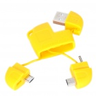 Compact USB to Mini USB/Micro USB/DC 2.0mm Charging/Data Cable Adapter - Yellow