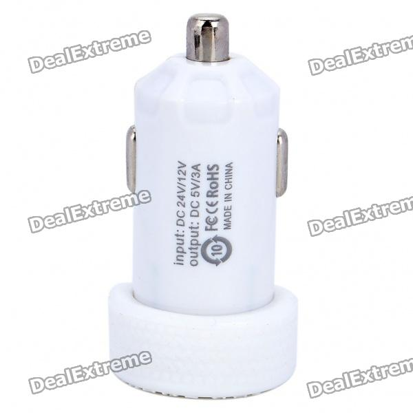 Dual USB Car Cigarette Powered Charger - White (12~24V) thor t1 car charger stainless steel safety hammer dual usb smart car charger