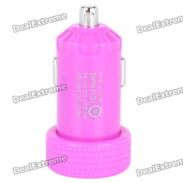 Dual USB Car Cigarette Powered Charger - Purple (12~24V)