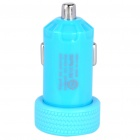 Dual USB Car Cigarette Powered Charger - Blue (12~24V)