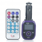 "0.9"" Screen Car MP3 Player FM Transmitter w/ Remote Controller - Black + Purple (2GB)"