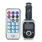 "0.9"" Screen Car MP3 Player FM Transmitter w/ Remote Controller - Black + Silver (2GB)"