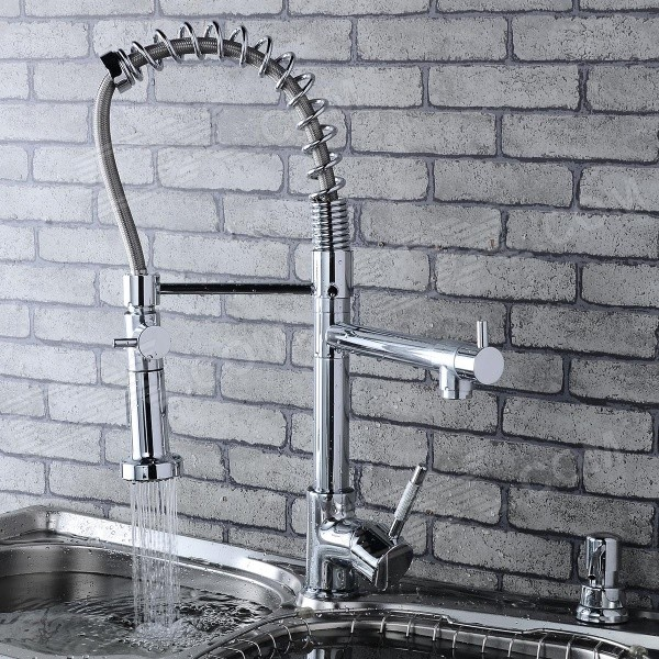 Stylish Chromed Copper Faucet Water Tap - Silver kitchen faucets black oil brushed rotating copper crane kitchen sink faucet hot and cold water brass taps kitchen mixer tap