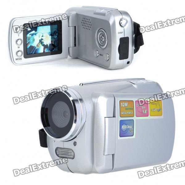 300KP Digital Video Camcorder w/ 4X Digital Zoom/AV-Out/SD - Silver (3 x AAA / 1.8 TFT LCD) 5 0mp digital video camcorder w 4x digital zoom motion detection hdmi sd slot 2 5 tft lcd