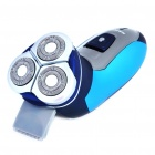 3W Rechargeable Waterproof Three-Floating Loop Speed Foil Shaver Razor - Blue + Silver (220V)
