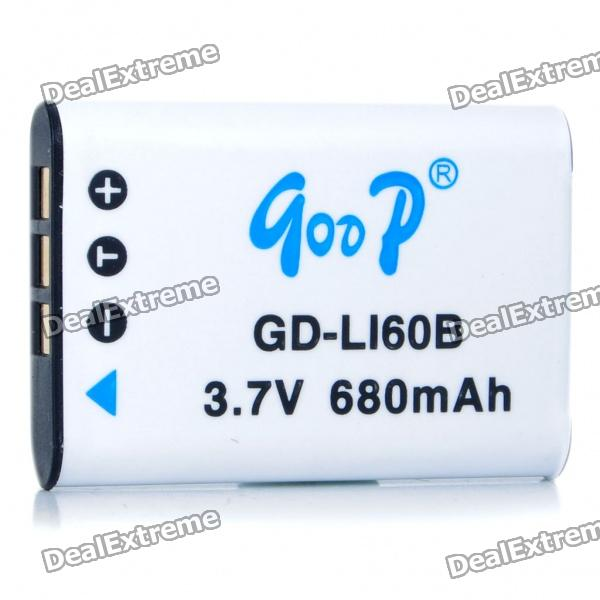Replacement GD-LI60B 3.7V 680mAh Battery Pack for Pentax M50/Nikon S550/S560/Olympus E370 + More