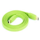 1080P HDMI V1.4 Male to Male Gold Plated Plug Flat Connection Cable - Green (1.5M-Length)