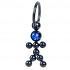 1.0mm 316L Surgical Steel Rhinestone Human Style Multifunction Body Piercing Ring (Random Color)