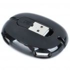 Unique Ellipsoid Style USB 2.0 4-Port Hub - Black