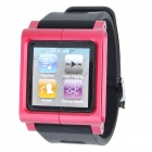 Aluminum Alloy Case + Silicone Armband for iPod Nano 6 - Magneta + Black