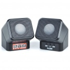 Rotatable USB Rechargeable Multimedia Speaker w/ TF Slot - Black