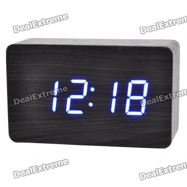 Wood Style Alarm Clock w/ Blue LED + Temperature - Black + Grey (4 x AAA/USB)