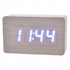 Wood Style Alarm Clock w/ Blue LED + Temperature - White (4 x AAA/USB)