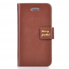 Ultrathin Protective PU Leather Flip-Open Case for Iphone 4 (Chocolate)
