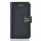 Ultrathin Protective PU Leather Flip-Open Case for Iphone 4 (Black)