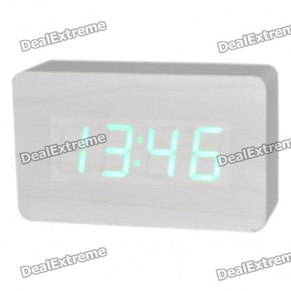 Modern USB/4 x AAA Batteries Powered Wooden Green LED Alarm Clock w/ Temperature Display - White