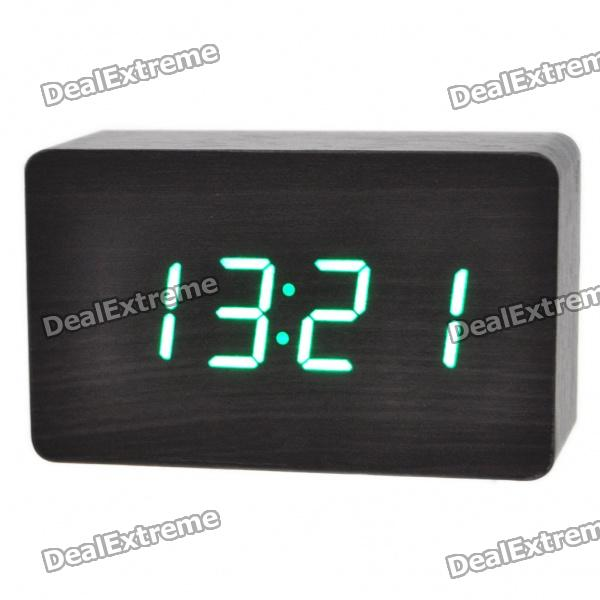 Modern USB/4 x AAA Batteries Powered Wooden Green LED Alarm Clock w/ Temperature Display - Black