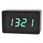 Modern USB Wooden Green LED Alarm Clock w/ Temperature Display - Black
