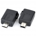 Micro USB Male/Female to Mini USB Female/Male Adapters Kit - Black