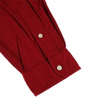 Men's Twill Cotton Long Sleeve Shirt - Wine Red (XL)