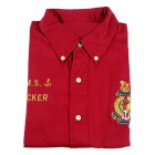 Men's Twill Cotton Long Sleeve Shirt - Red (XL)