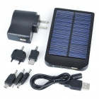 Solar/AC Powered Rechargeable 2600mAh Portable Power Pack with Charging Adapters - Black